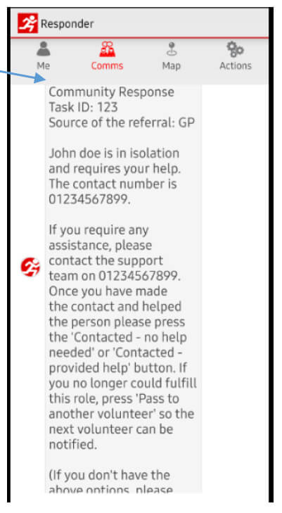 Screen grab of support required form the GoodSAM app.